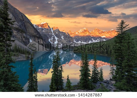 Sunrise at the Moraine lake in Banff National Park, Canada. #1414287887