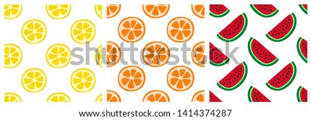 Tropical fruit seamless pattern set. Orange, lemon and watermelon. Fashion design. Food print for clothes, linens or curtain. Hand drawn vector sketch background collection #1414374287