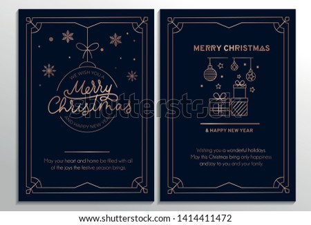 Set of geometric Christmas cards with rose gold lines and dark background. Vector illustration #1414411472