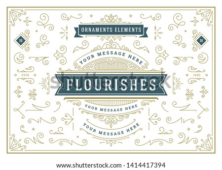 Vintage ornaments swirls and scrolls decorations design elements vector set. Flourishes calligraphic combinations for retro design, greeting cards, certificates borders, frames and invitations. #1414417394