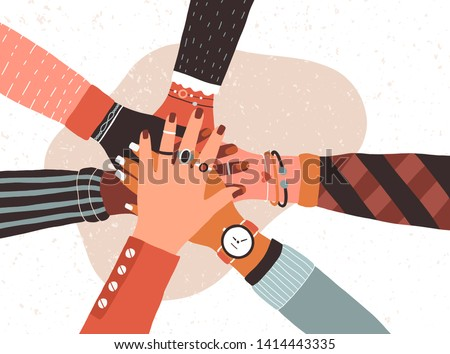 Hands of diverse group of people putting together. Concept of cooperation, unity, togetherness, partnership, agreement, teamwork, social community or movement. Flat cartoon vector illustration. Royalty-Free Stock Photo #1414443335