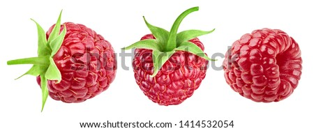 Sweet raspberry isolated on white background. Raspberries collection Clipping Path. Professional studio macro shooting #1414532054