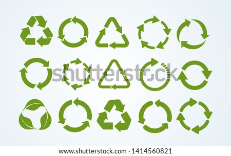 Big set of Recycle icon. Recycle Recycling symbol. Vector illustration. Isolated on white background. #1414560821