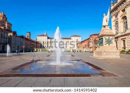 Royal Palace of Turin at the Piazza Madama or Piazza Castello or Castle Square in the centre of Turin city, Piedmont region of Italy #1414595402