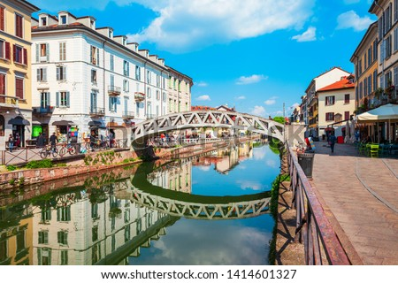 The Naviglio Grande canal in Milan city in Lombardy region of northern Italy #1414601327