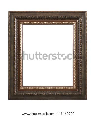 Old Antique Black frame Isolated Decorative Carved Wood Stand Antique Black Frame Isolated On White Background #141460702