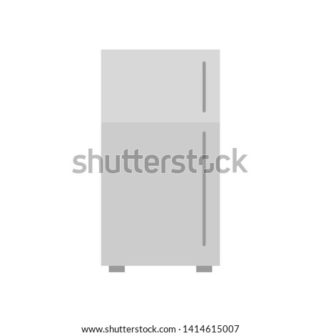 Vector  illustration of gray closed refrigerator. Fridge vector illustration.  #1414615007