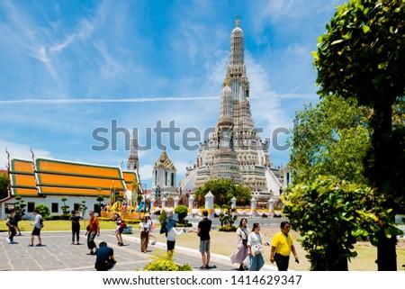 Bangkok,Thailand – May,2,2019 : This is the Wat Arun or Wat Jang is located on the Thon Buri bank of the Chao Phraya River ,Bangkok ,Thailand #1414629347