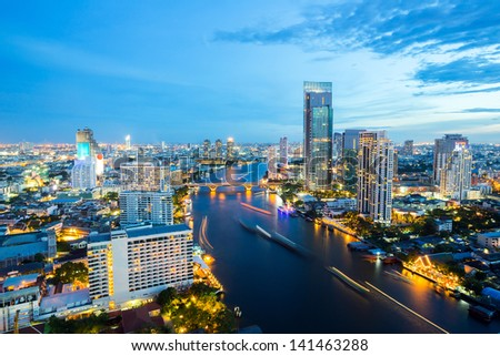 Aerial view of Bangkok Skyline along Chaophraya River sunset twilight #141463288
