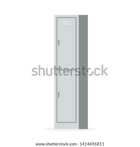 Two Door Metal Locker. Clipart image isolated on white background
