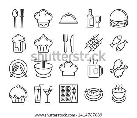Food and drinks icon. Restaurant line icons set. Vector illustration. Royalty-Free Stock Photo #1414767089