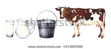 Watercolor set illustration. Steel bucket, a jug of milk, glass of milk and cow on a white background