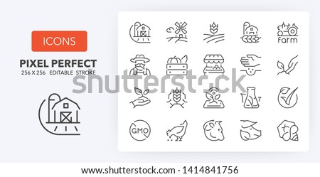 Set of thin line icons of organic food production and new agricultural technologies. Outline symbol collection. Editable vector stroke. 256x256 Pixel Perfect scalable to 128px, 64px... #1414841756