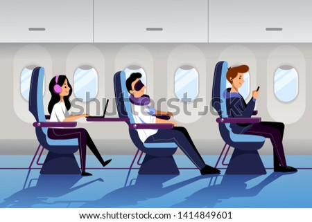 People travel by airplane in economy class. Plane interior with sleeping and working passengers. Vector flat cartoon illustration. #1414849601