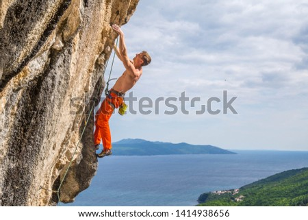 Man Climbing in Medveja, Croatia  #1414938656