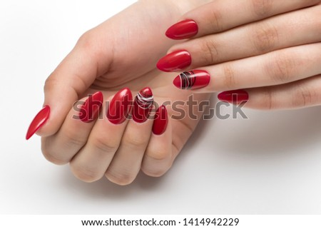 summer bright, red, scarlet manicure on long sharp nails with a black-and-white spiderweb on untitled nails on a white background  #1414942229