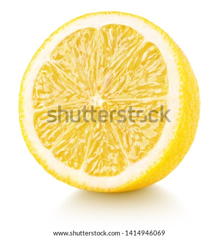 Half of lemon isolated on white background. Yellow lemon citrus fruit with clipping path. Full depth of field. #1414946069