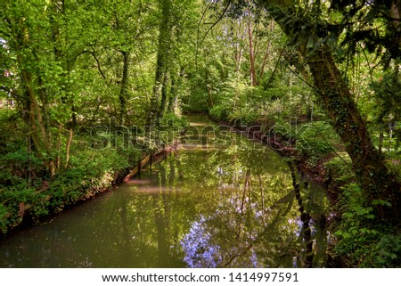 the little river Delme in Delmenhorst (Germany)  Royalty-Free Stock Photo #1414997591
