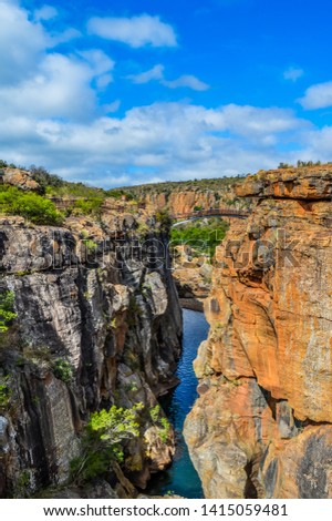 Rock formation in Bourke's Luck Potholes in Blyde canyon reserve in Mpumalanga in Africa #1415059481