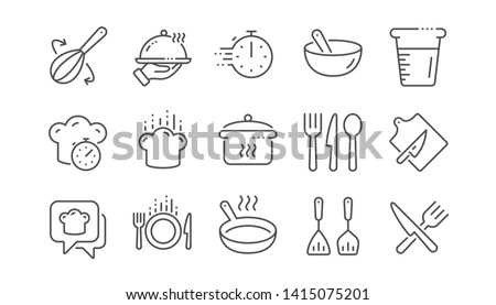 Cooking line icons. Boiling time, Frying pan and Kitchen utensils. Fork, spoon and knife line icons. Recipe book, chef hat and cutting board. Linear set. Vector #1415075201