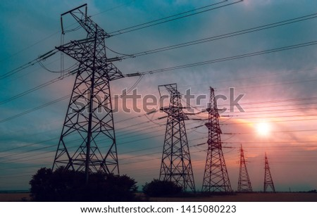 high-voltage  power lines at sunset. electricity distribution station. high voltage electric transmission tower.  #1415080223