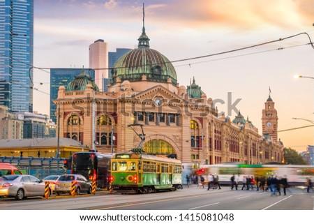 Melbourne Flinders Street Train Station in Australia at sunset #1415081048