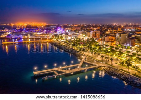 Limassol. Republic of Cyprus night panorama. Night Molos embankment. Limassol's promenade protruding into the sea from height. The mediterranean seaside. The Cyprus beaches. Traveling to the Cyprus. #1415088656
