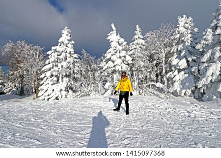 YAMAKATA-JAPAN-FEBRUARY 18 : View of beautiful nature in snow winter season on the mountain at Ice monster Zao Park, February 18, 2019, Yamakata, Japan #1415097368