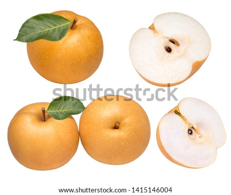 Snow pear or Nashi pear or Feng Shui pear on white background, Korea pear fresh fruit with slices isolated on white background #1415146004