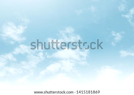 Blue sky with white cloud. Blue background. The summer sky is colorful clearing day and beautiful  nature in the morning. for backdrop decorative and wallpaper design. The perfect sky background. #1415181869