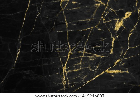Gold marbling texture on black background design for cover book or brochure, poster, wallpaper background or realistic business and design artwork. #1415216807