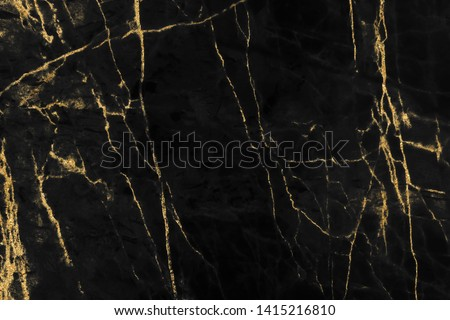 Gold marbling texture on black background design for cover book or brochure, poster, wallpaper background or realistic business and design artwork. #1415216810