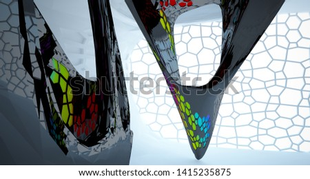 Abstract white, black and colored gradient  interior multilevel public space with window. 3D illustration and rendering. #1415235875