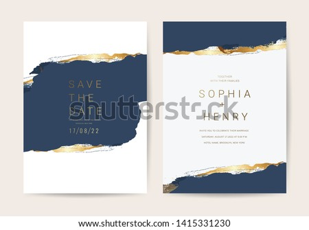 Wedding invitation cards with Luxury gold and indigo navy marble texture background and Abstract ocean style vector design template #1415331230