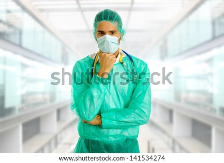 young male doctor thinking, at the hospital #141534274