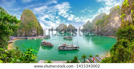 Beautiful landscape Halong Bay view from adove the Bo Hon Island. Halong Bay is the UNESCO World Heritage Site, it is a beautiful natural wonder in northern Vietnam #1415343002