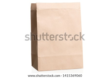 simple brown paper bag for lunch or food isolated on white background with copy space #1415369060
