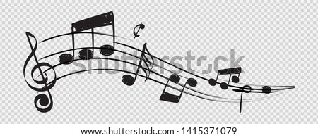 Musical note. Staff treble clef notes musician concept vector isolated on transparent background. Illustration of music sound, tune bass treble #1415371079