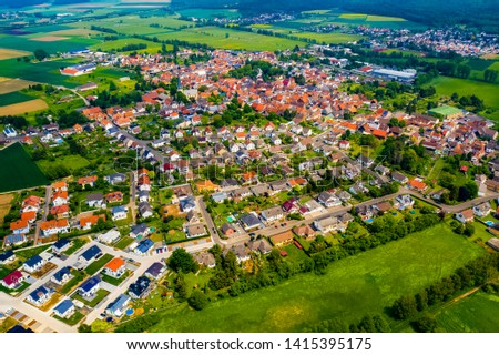 Village Echzell in Germany with Drone #1415395175