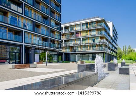 WARSAW, MAZOVIAN PROVINCE / POLAND - MAI 16, 2018: Modern housing estate. #1415399786