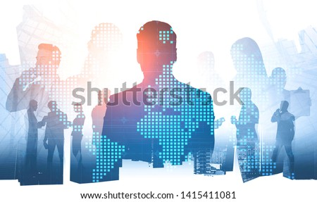 Silhouette of business leader and members of his team communicating over skyscraper background with double exposure of world map. International company concept. Toned image #1415411081
