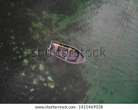 Aerial photography, Isle Of Harris, Outer Hebrides. Boat in the Atlantic Ocean #1415469038