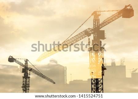 Crane construction double exposure style #1415524751