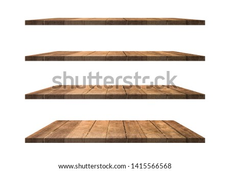 A collection of brown wooden shelves on a white background that separates the objects. There are clipping paths for the designs and decoration Royalty-Free Stock Photo #1415566568