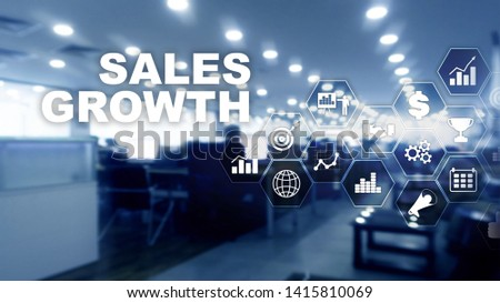 Chart growth concept. Sales increase, marketing strategy. Double exposure with business graph #1415810069