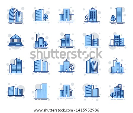 Buildings line icons. Bank, Hotel, Courthouse. City, Real estate, Architecture buildings icons. Hospital, town house, museum. Urban architecture, city skyscraper, downtown. Vector Royalty-Free Stock Photo #1415952986