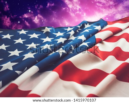 American flag with night sky background.  #1415970107