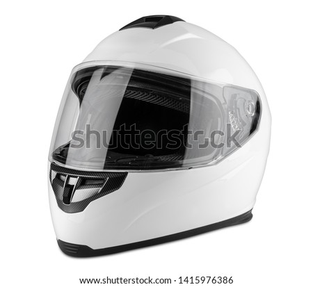White motorcycle carbon integral crash helmet isolated on white background. motorsport car kart racing transportation safety concept Royalty-Free Stock Photo #1415976386