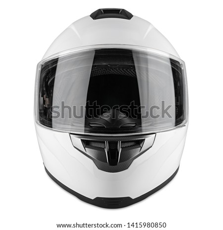 White motorcycle carbon integral crash helmet isolated on white background. motorsport car kart racing transportation safety concept #1415980850