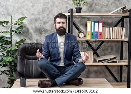 Prevent professional burnout. Man bearded manager formal suit sit lotus pose relaxing. Way to relax. Meditation yoga. Self care. Psychological help. Relaxation techniques. Mental wellbeing and relax. #1416003182
